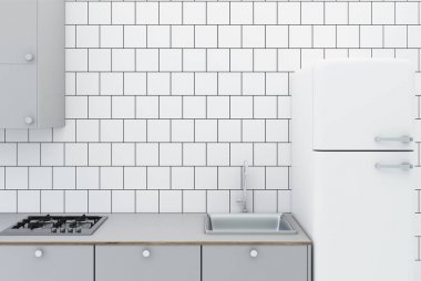 White tiled kitchen close up