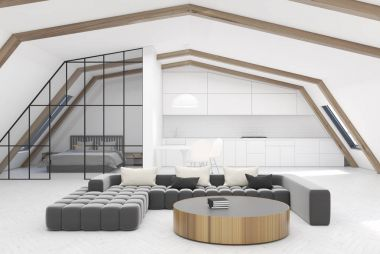 Attic living room, gray sofa, bed