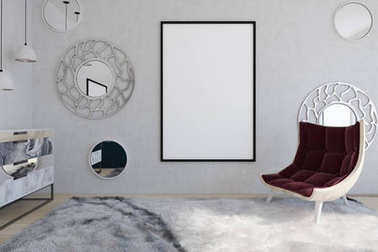 Red armchair and poster in a mirror living room