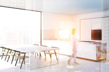 White and marble kitchen interior blur