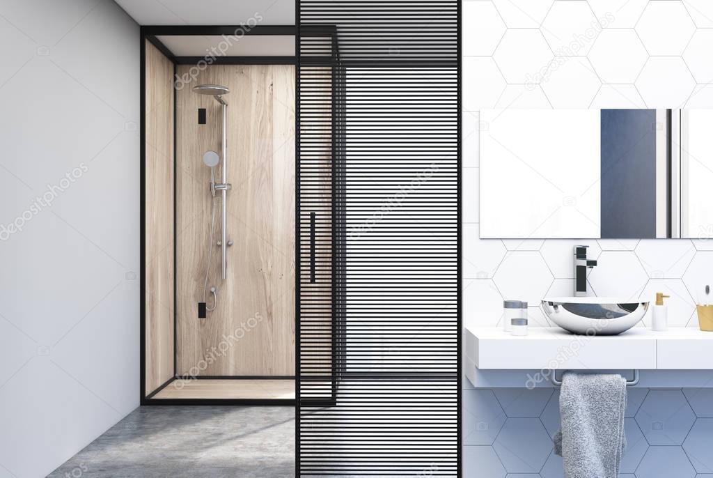 Doccia, lavandino e bagno rivestito di piastrelle esagonali — Foto Stock © denisismagilov #179174140