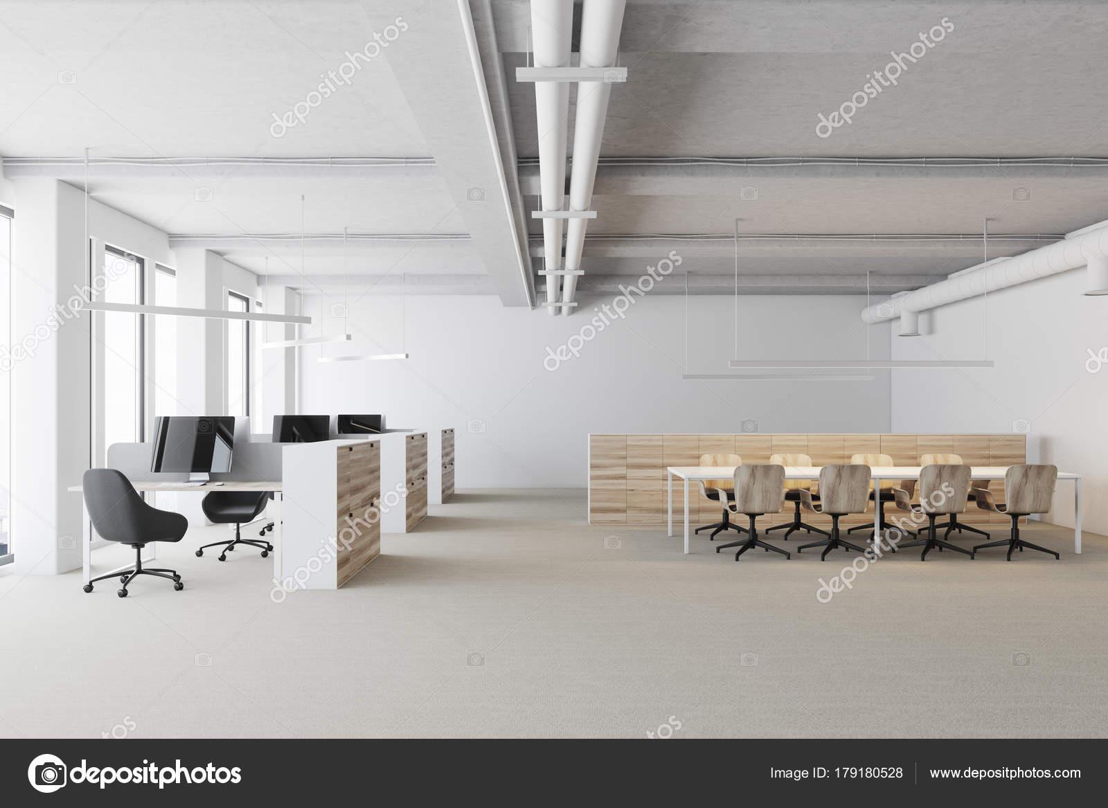 Blanc bureau espace ouvert les cabines en bois u2014 photographie