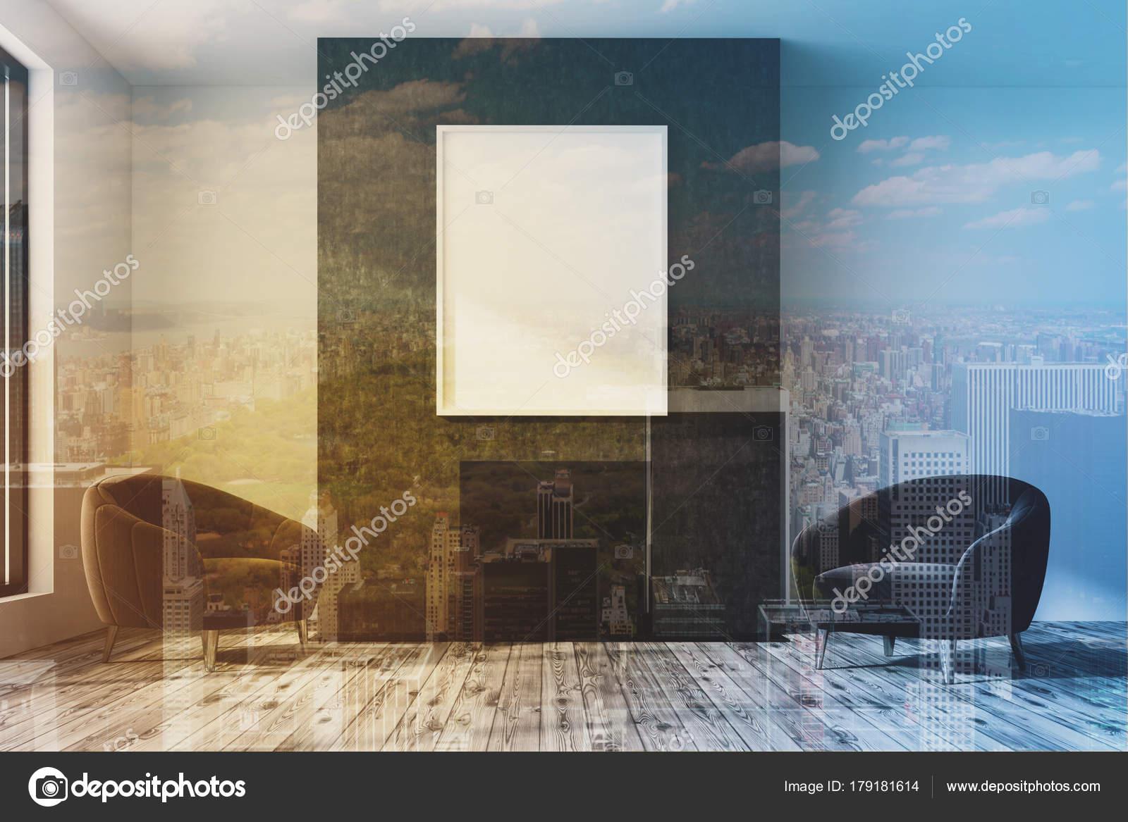 Schwarz und weiß Wohnzimmer, Poster und Sessel — Stockfoto ...