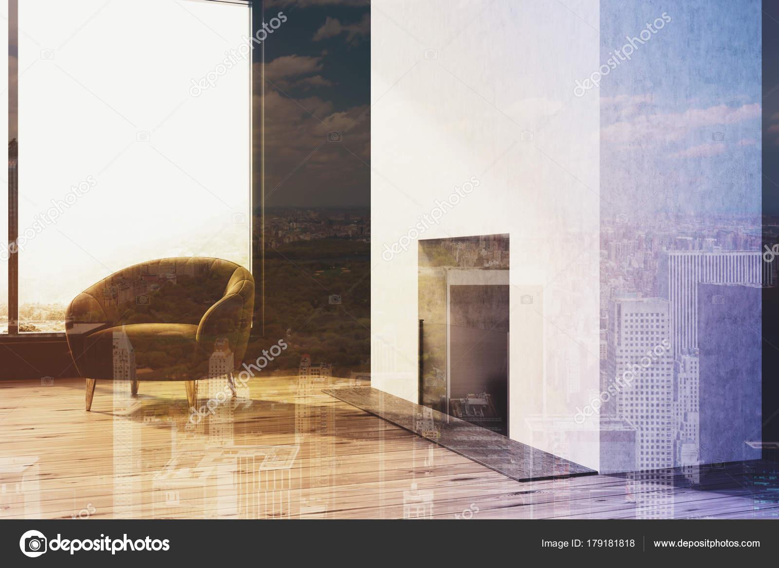 Zwart-wit woonkamer, open haard, fauteuil — Stockfoto ...