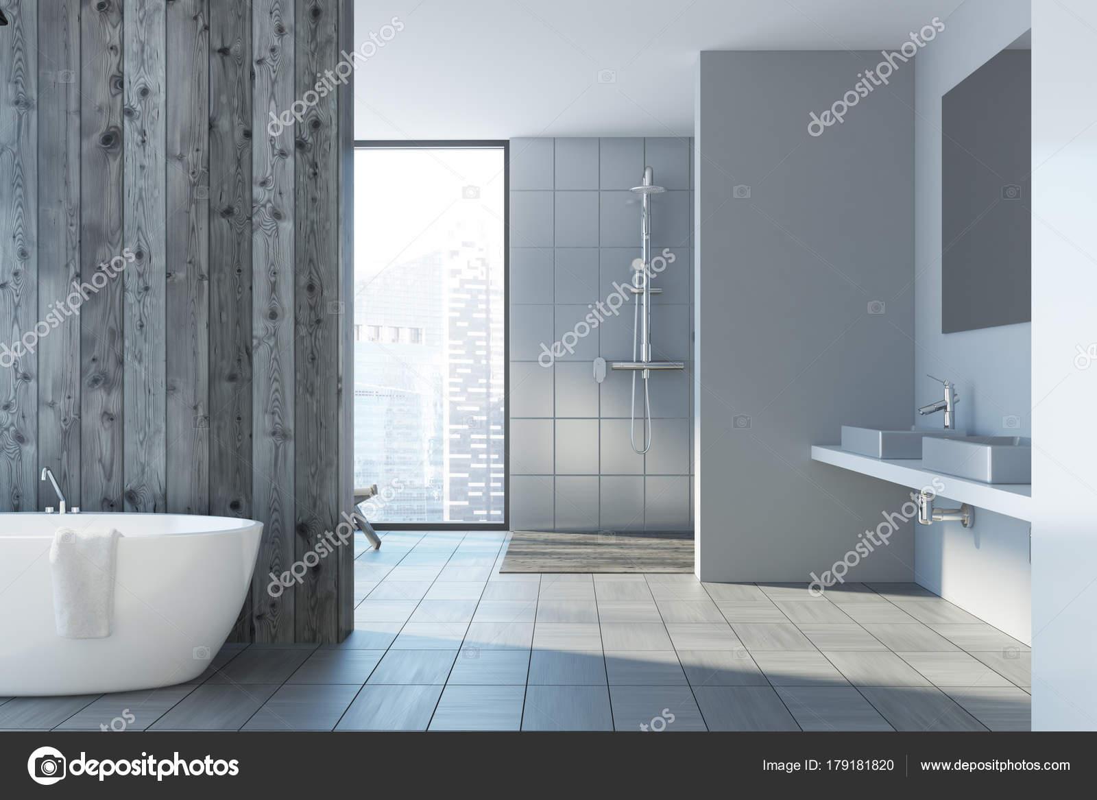 Bagno Legno E Grigio : Interni in legno e grigio bagno lavelli u2014 foto stock