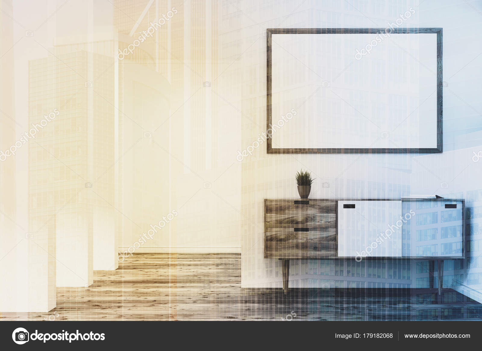 Living room chest of drawers, poster double — Stock Photo ...