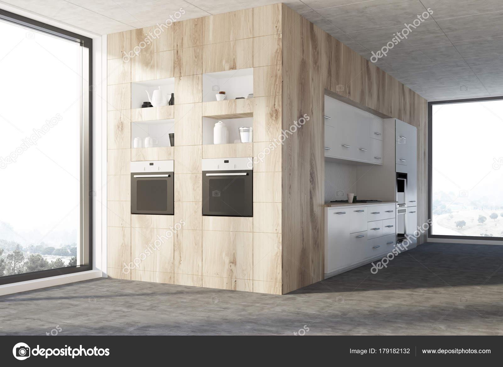 Werkblad Keuken Hout : Witte keuken met houten werkbladen u stockfoto denisismagilov