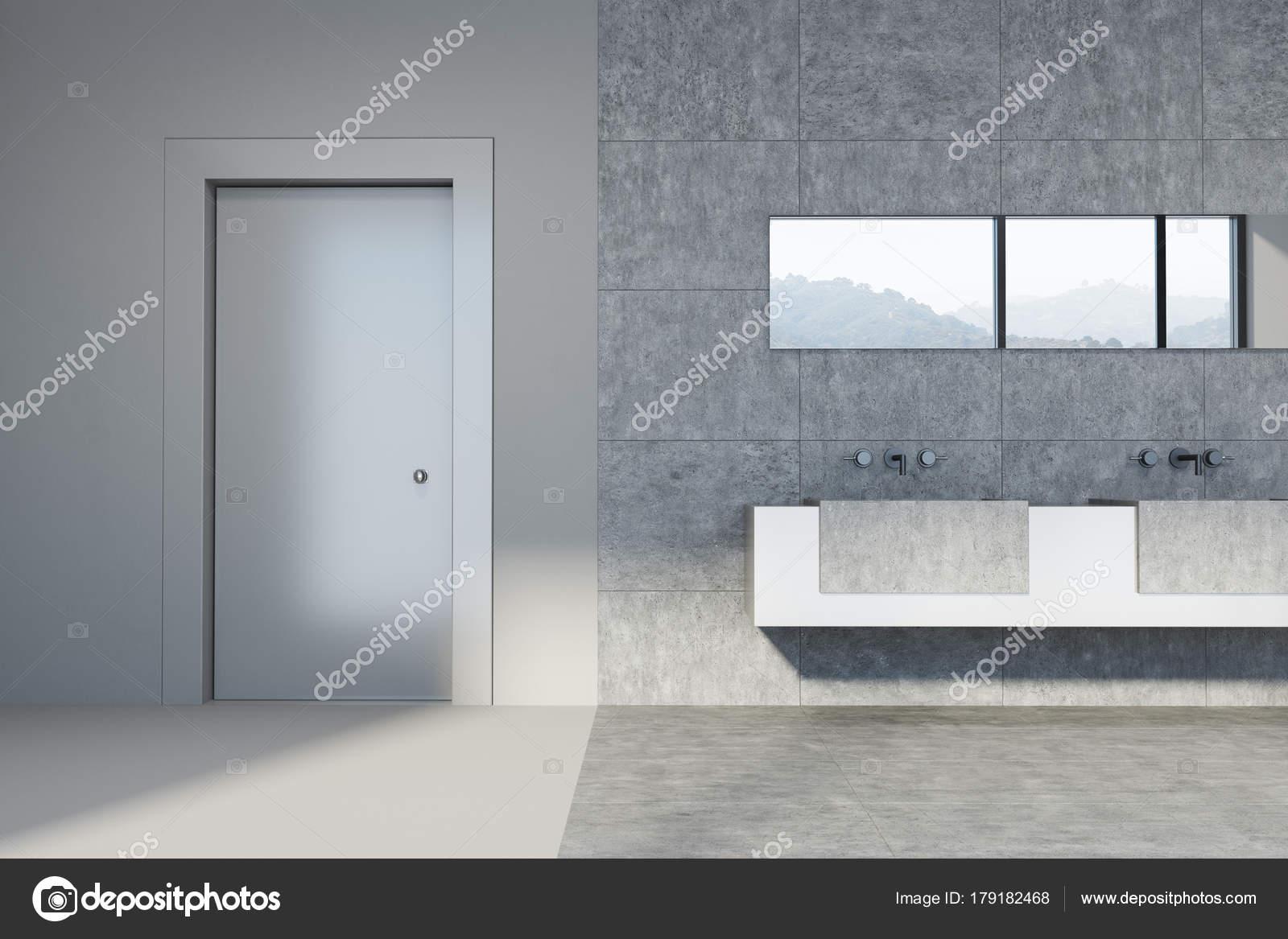 Concrete and tiled bathroom, double sink, door — Stock Photo ...