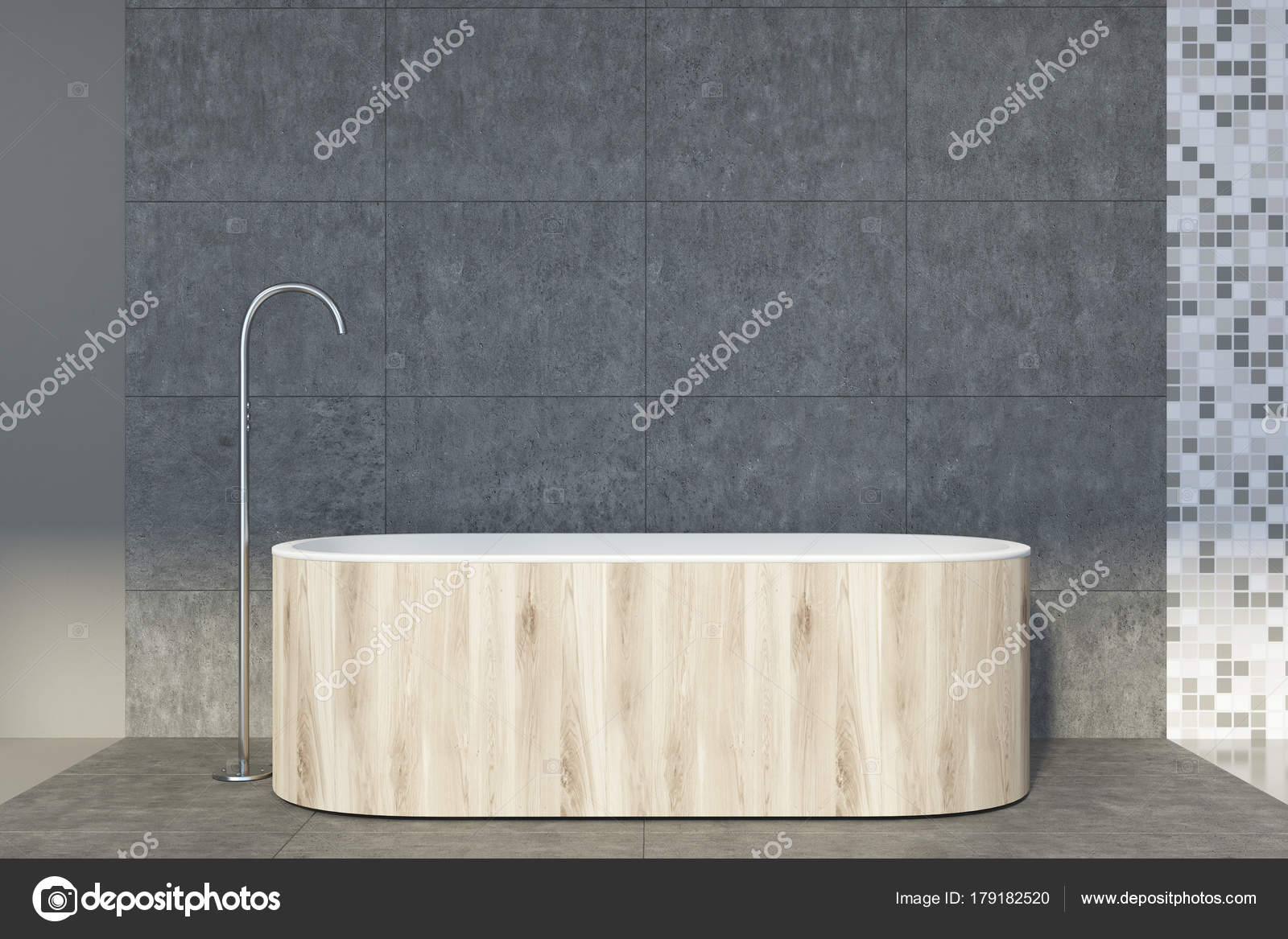 Vasca Da Lavare In Cemento : Cemento e piastrelle bagno vasca in legno u foto stock