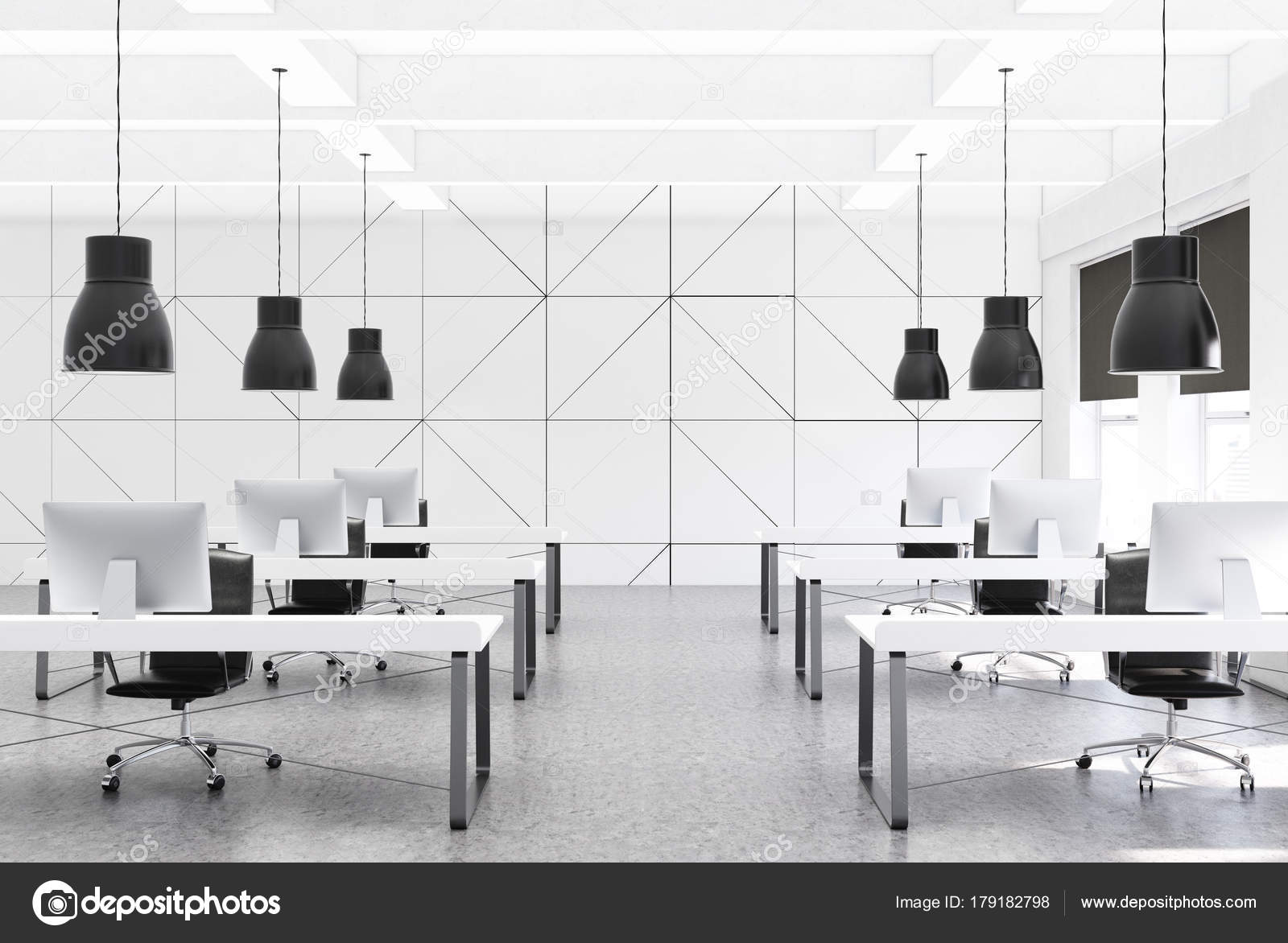 Blanc bureau espace ouvert rangées de pupitres u photographie
