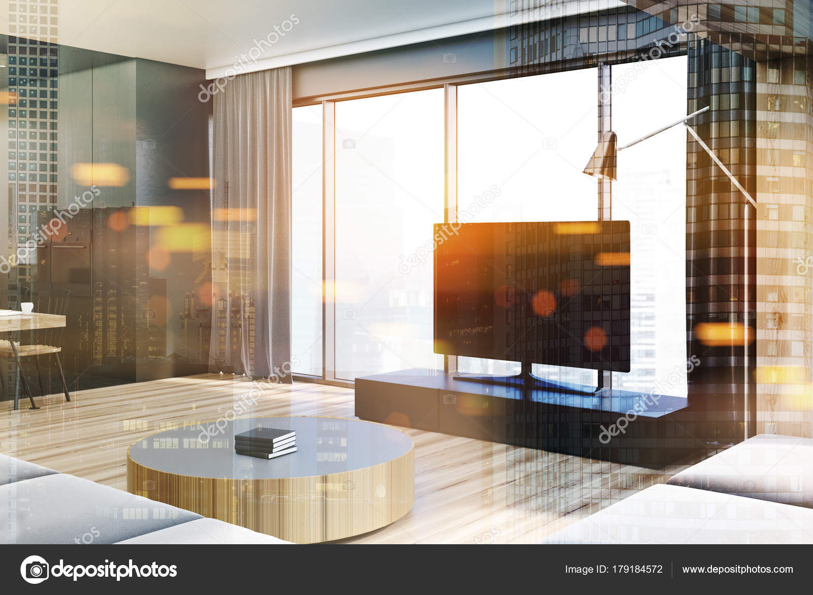 Moderna Sala De Estar Interior Aparelho De Tv Em Tons Fotografias  -> Sala De Tv Estar