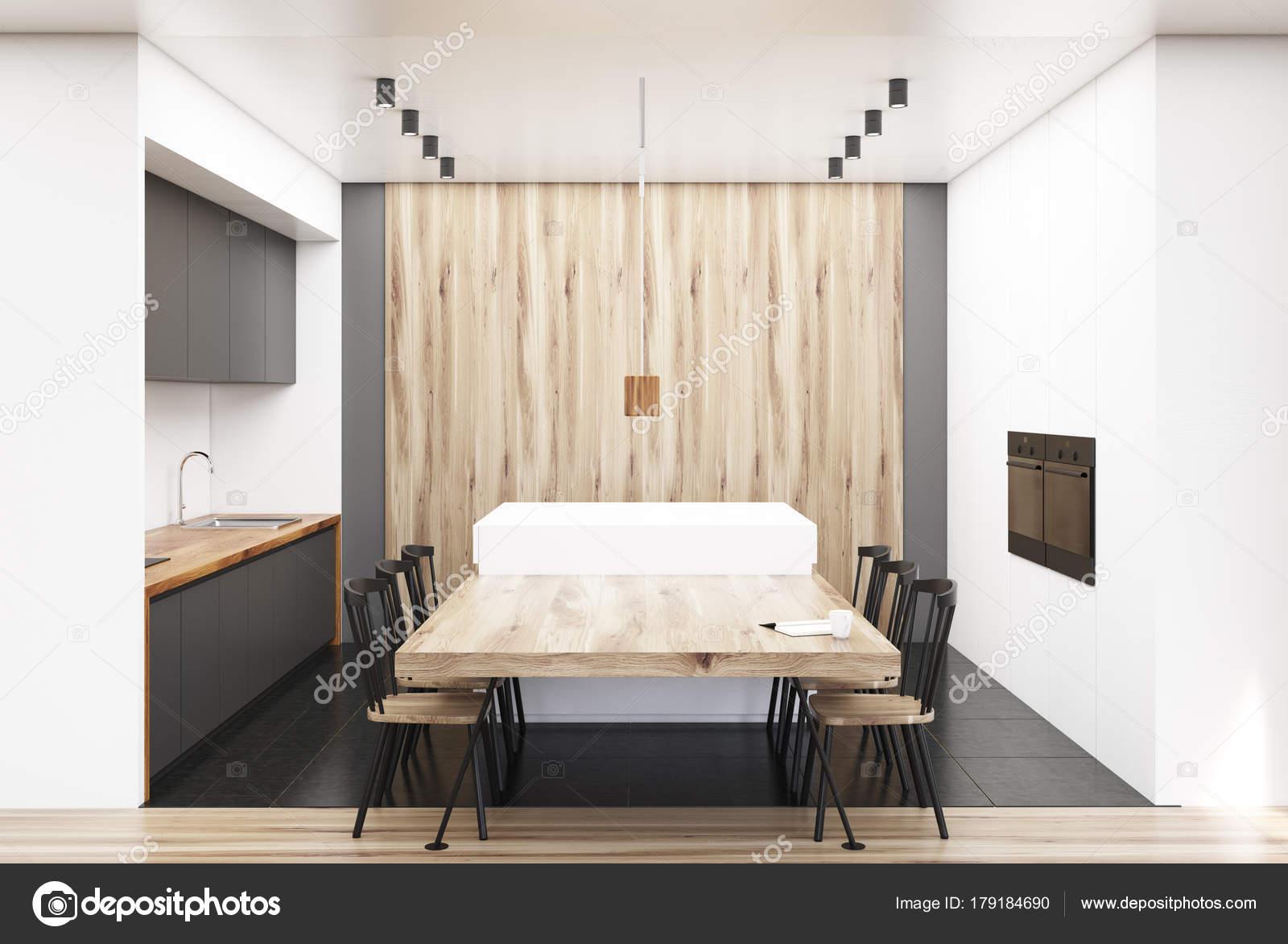 Sala da pranzo moderna in legno e bianca — Foto Stock ...