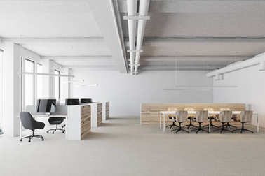White open space office, wooden cubicles