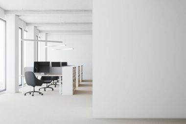 White open space office, wall