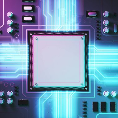 Circuit background with a processor, light