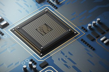 Blue circuit board with a processor