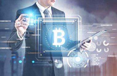 Bitcoin sign processor, HUD interface, man