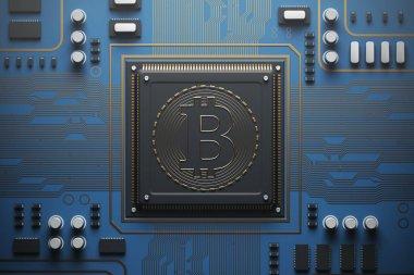 Blue circuit board with a processor, bitcoin
