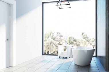 White bathroom interior, tub