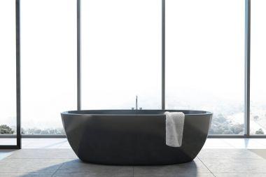 Panoramic bathroom, black round tub