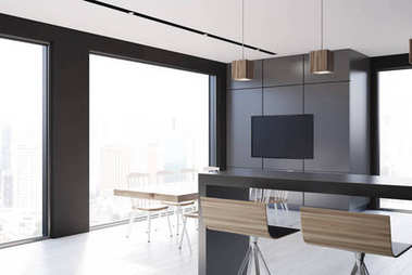 Gray tile and black kitchen, TV
