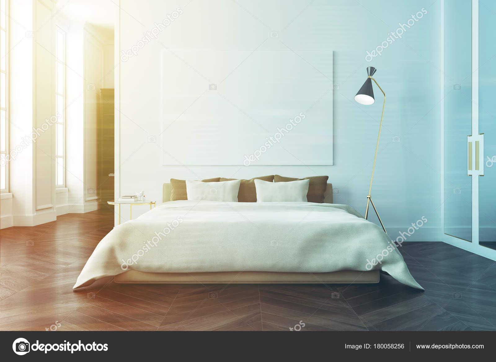 Interno camera da letto bianca, poster tonica — Foto Stock ...