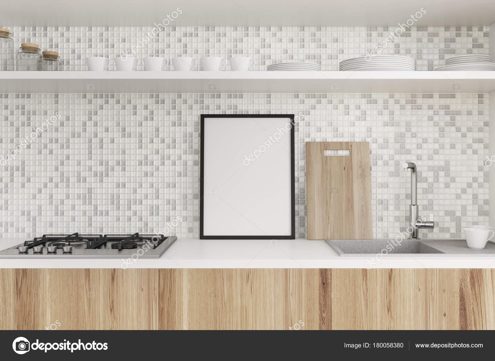 fliesen und holz küchenarbeitsplatte, plakat — stockfoto