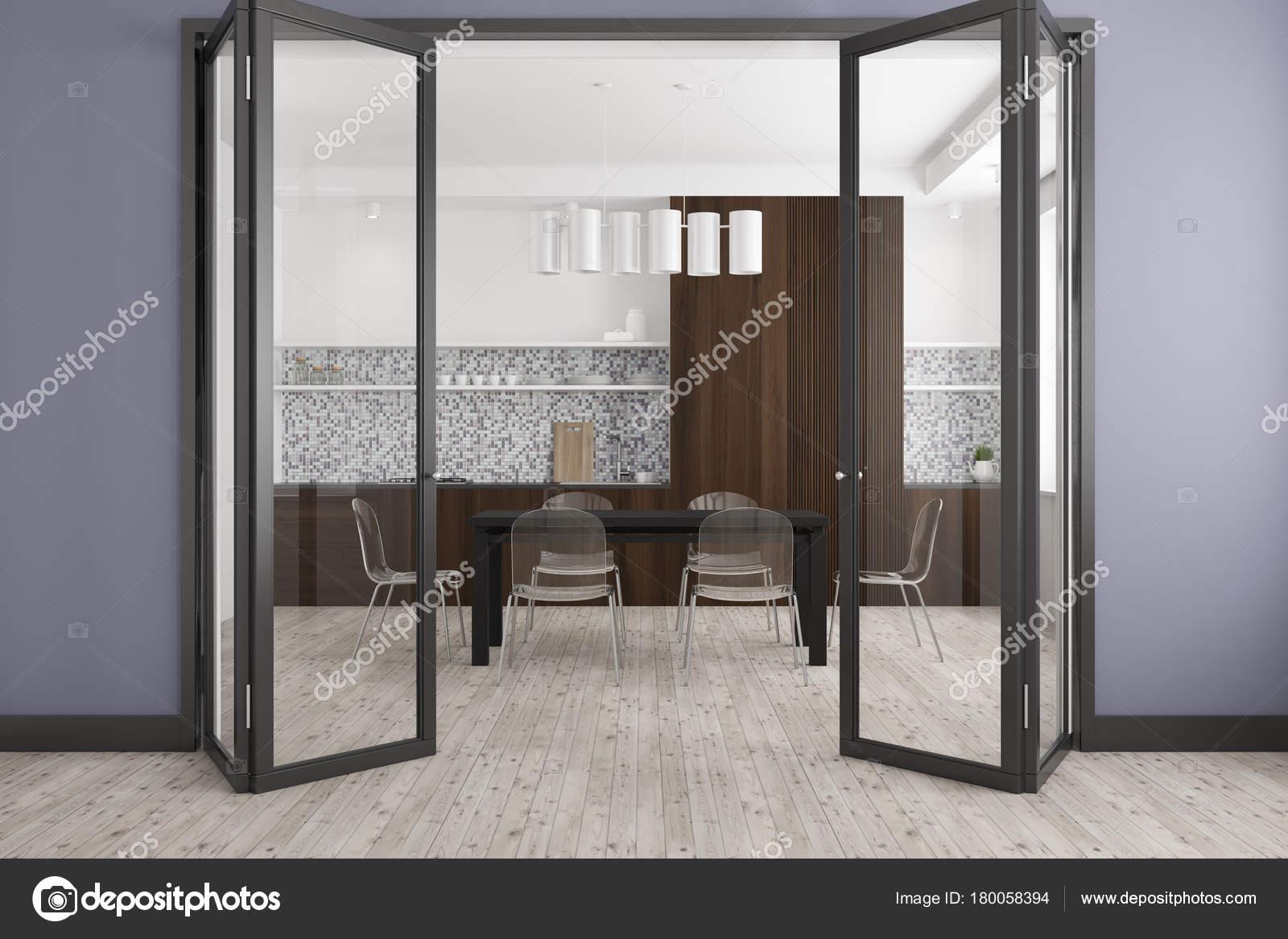 Comedor gris, puerta de cristal — Foto de stock ...