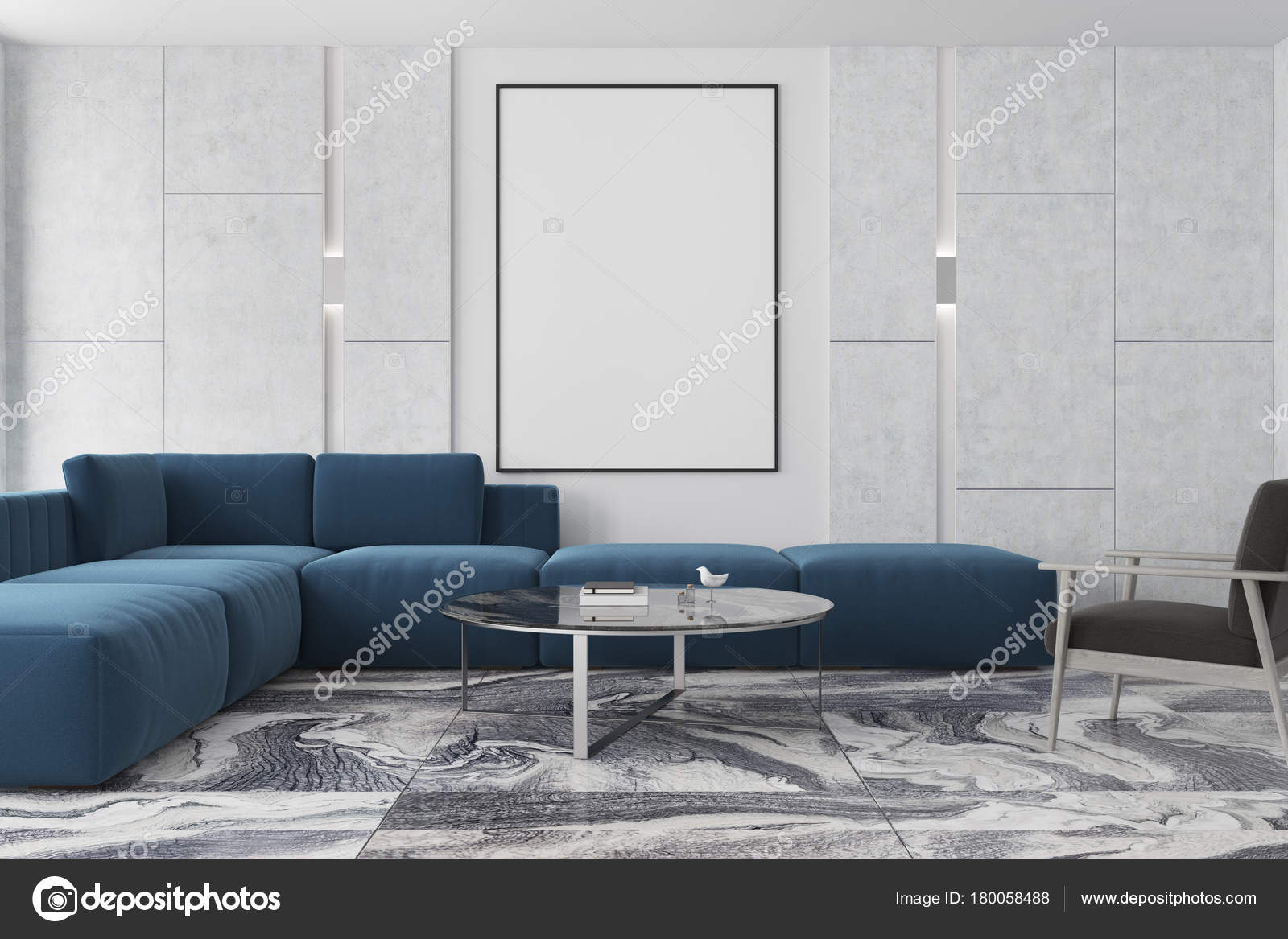 Marble and brown living room, poster, blue sofa — Stock Photo ...