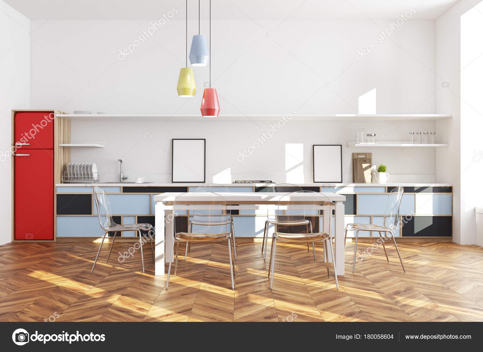 Knallrote Kühlschrank Küche Interieur — Stockfoto © denisismagilov ...