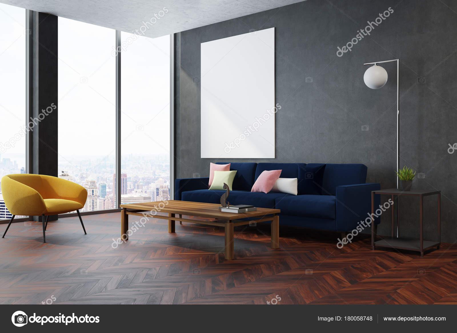 Graue Wohnzimmer Ecke Gelbe Sessel Stockfoto C Denisismagilov