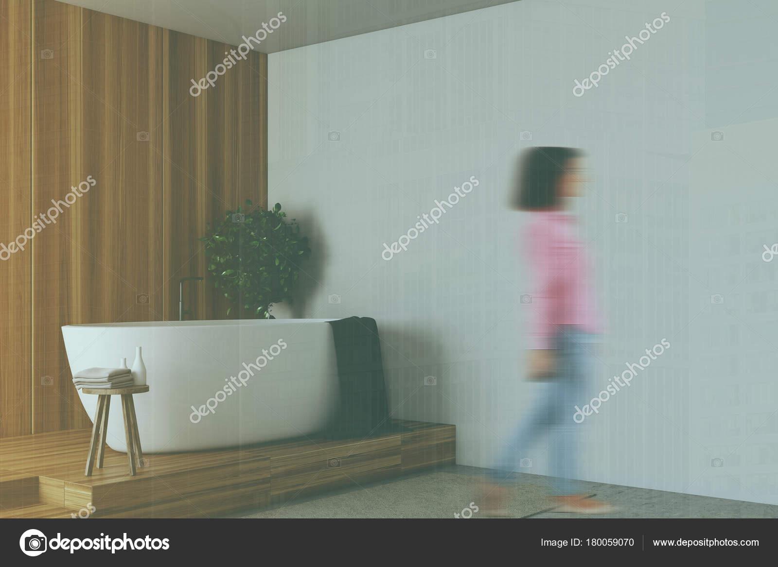 Wooden and white bathroom corner blur — Stock Photo © denisismagilov ...