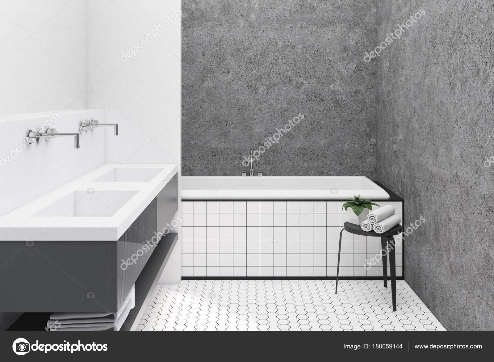 Concrete and white bathroom, tiled tub — Stock Photo ...