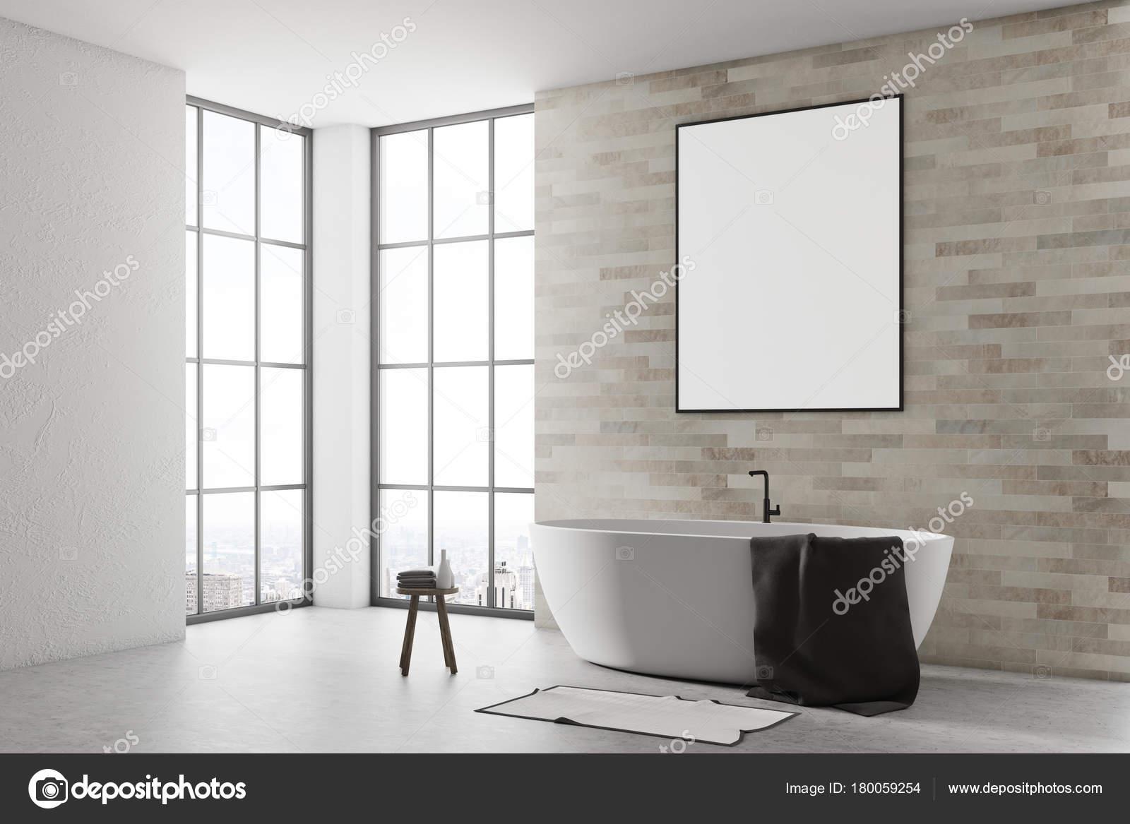 Affiche Salle De Bain ~ salle de bain blanc et brique c t affiche photographie