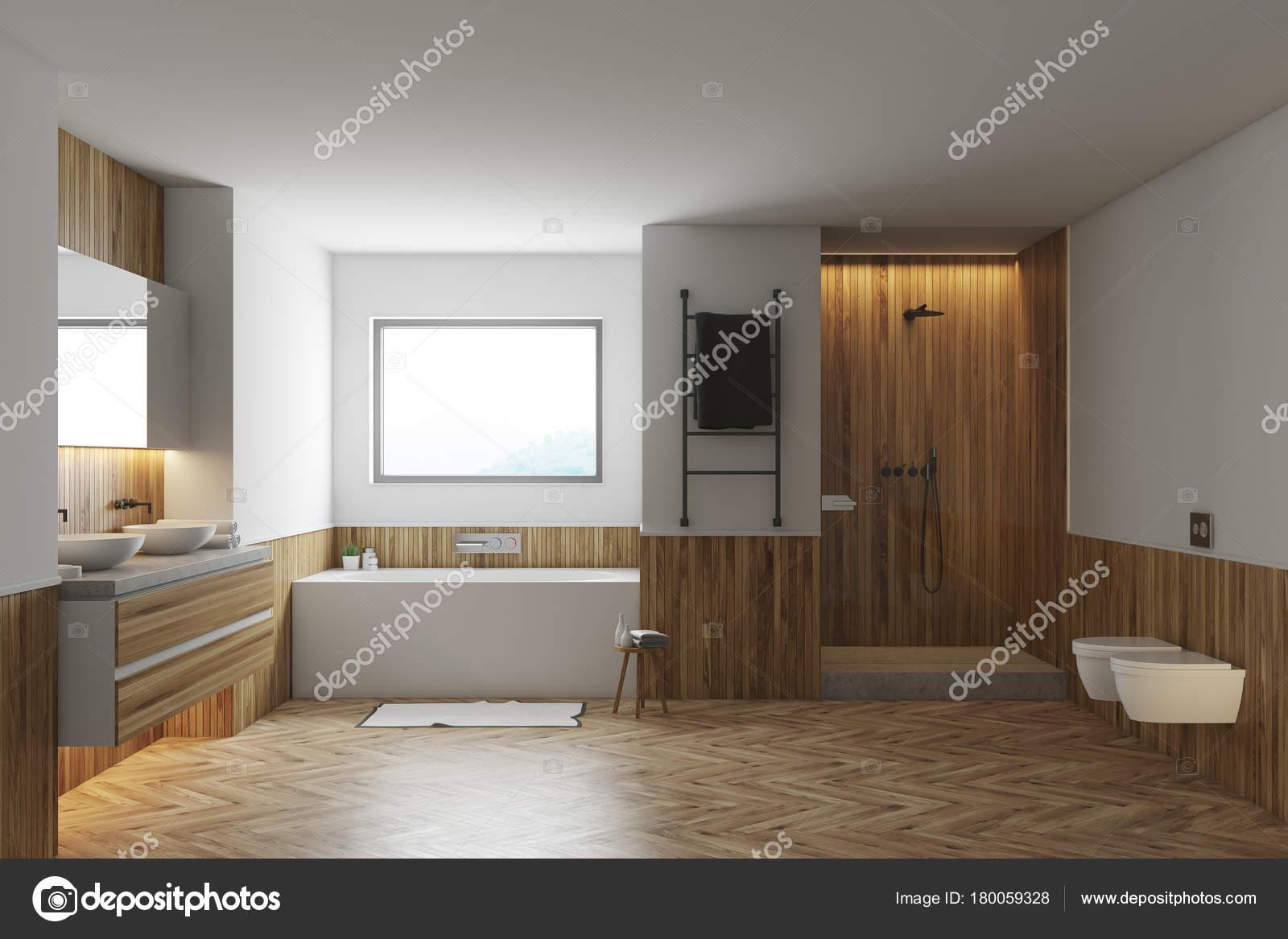 Weiß Und Holz Badezimmer Interieur Mit Einen Hölzernen Fußboden, Eine Weiße  Badewanne Und Zwei Waschbecken. Ansicht Von Vorne. 3D Rendering, Mock Up U2014  Foto ...