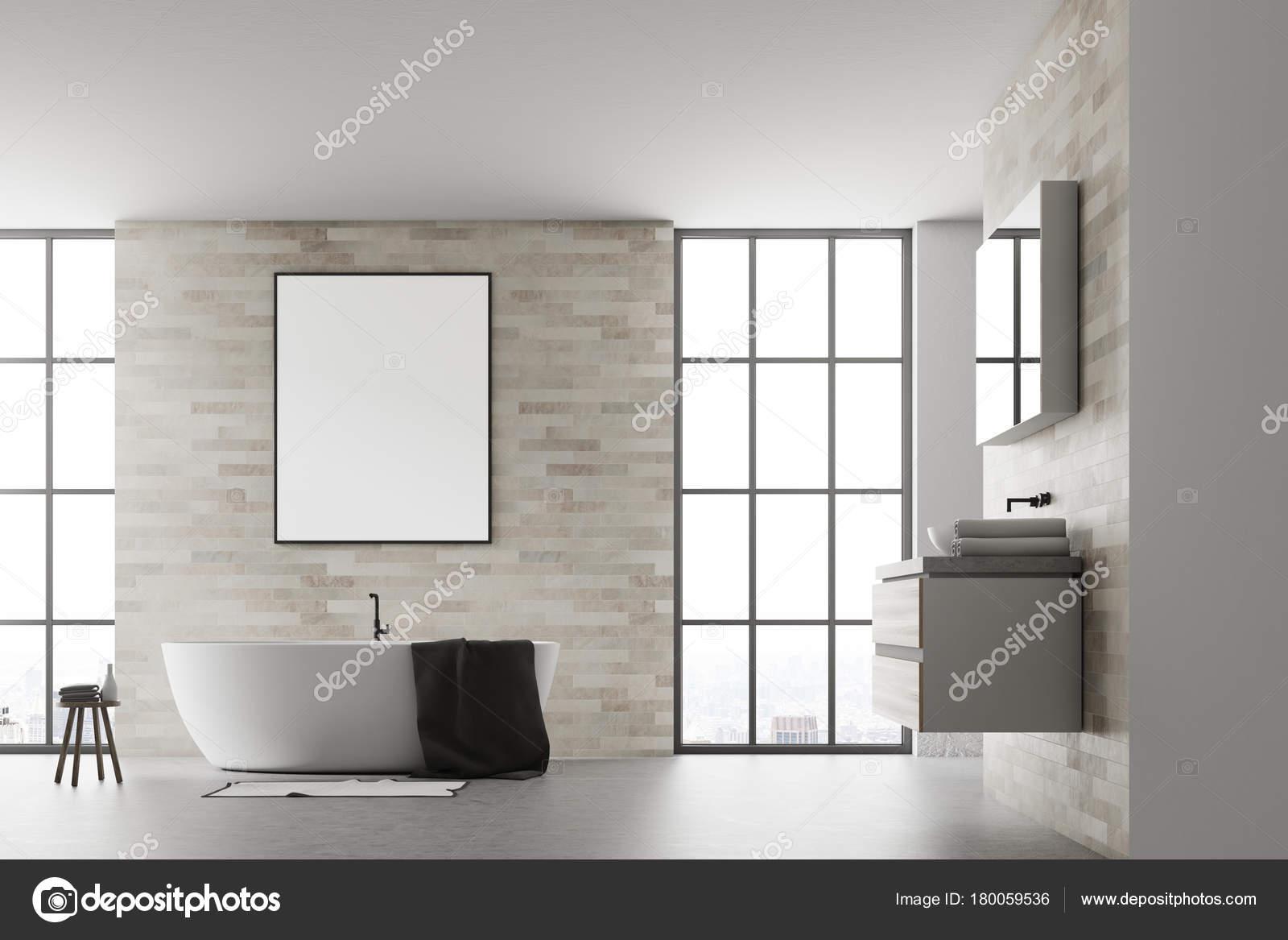 Affiche intérieur de salle de bains moderne blanc — Photographie ...