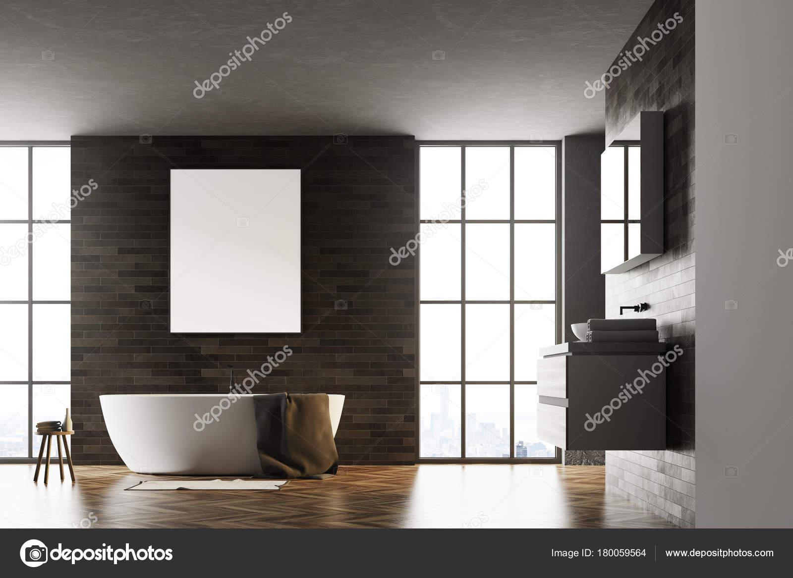 Cartel interior de cuarto de baño moderno negro — Foto de stock ...