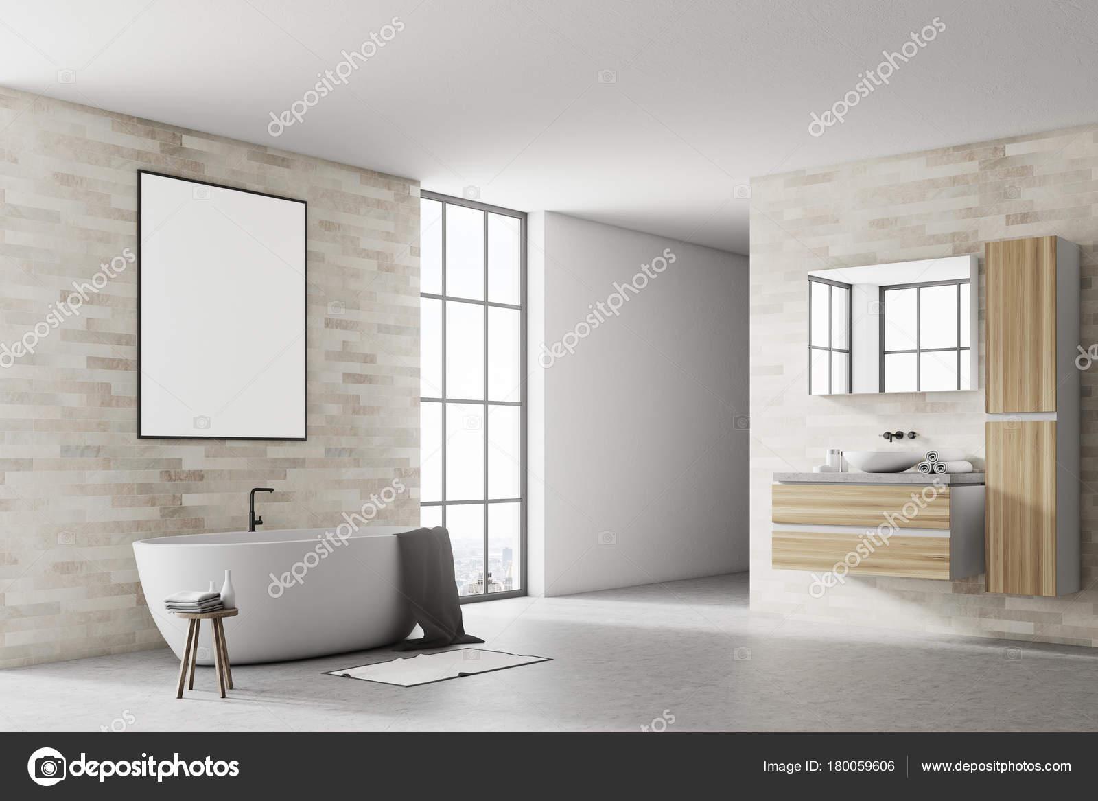 Salle De Bain Brique white and brick bathroom corner poster — stock photo