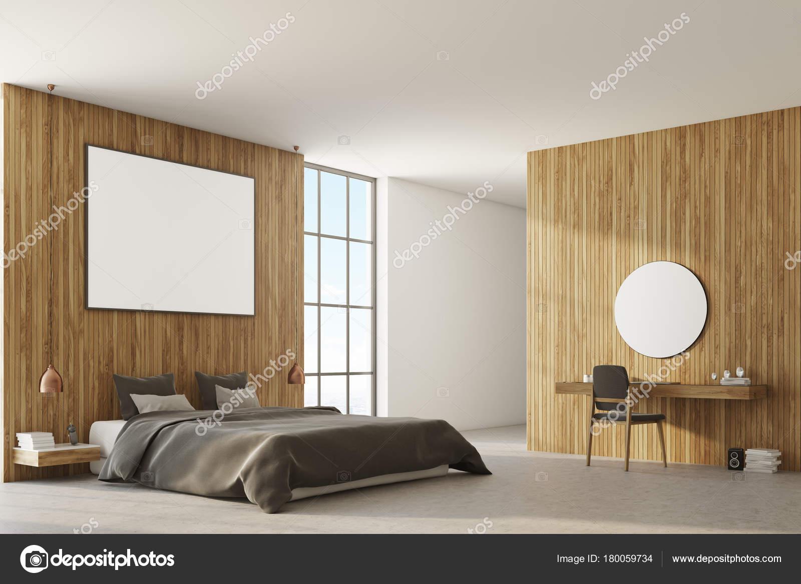 Hölzerne Schlafzimmer Ecke, graue Bett — Stockfoto © denisismagilov ...