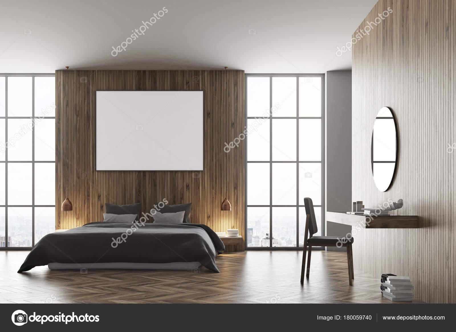 Letto Grigio Scuro : Letto in legno camera da letto grigio scuro u2014 foto stock