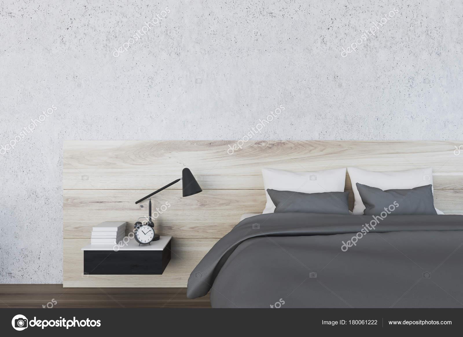 Witte minimalistische slaapkamer lamp u stockfoto