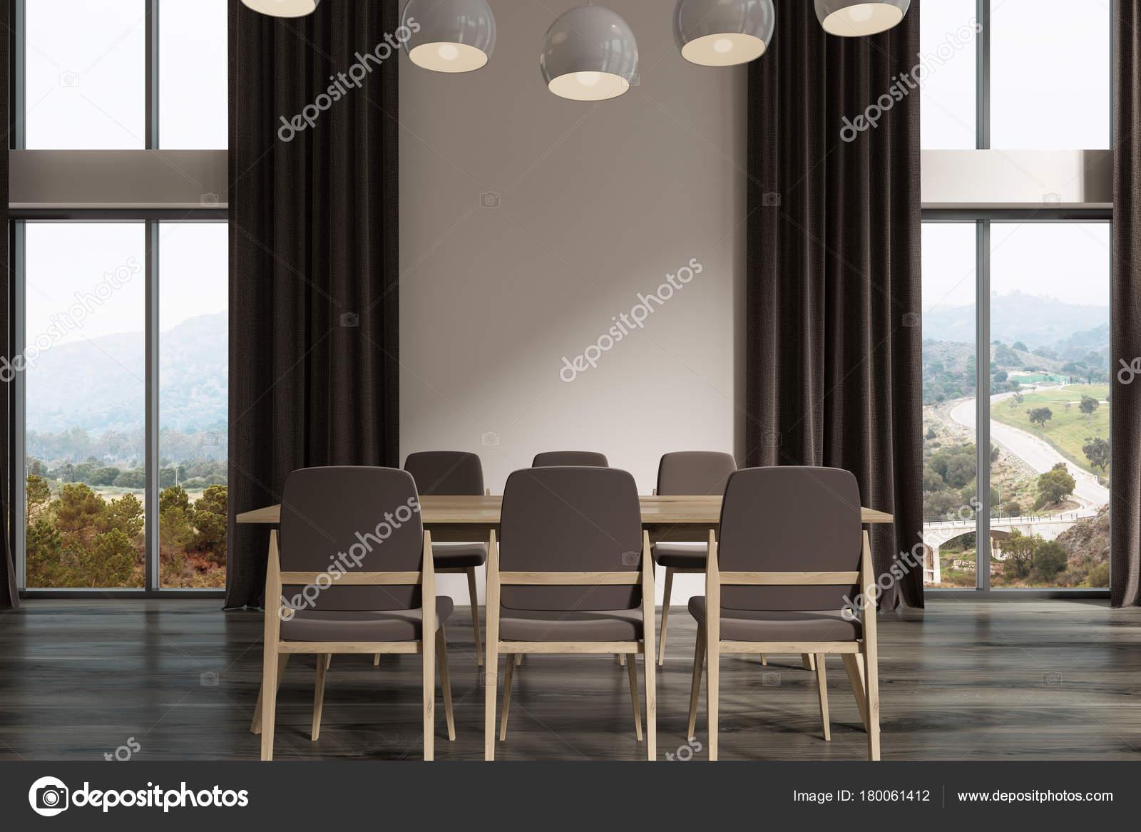 Tende di sala da pranzo bianco, nero, scure — Foto Stock ...