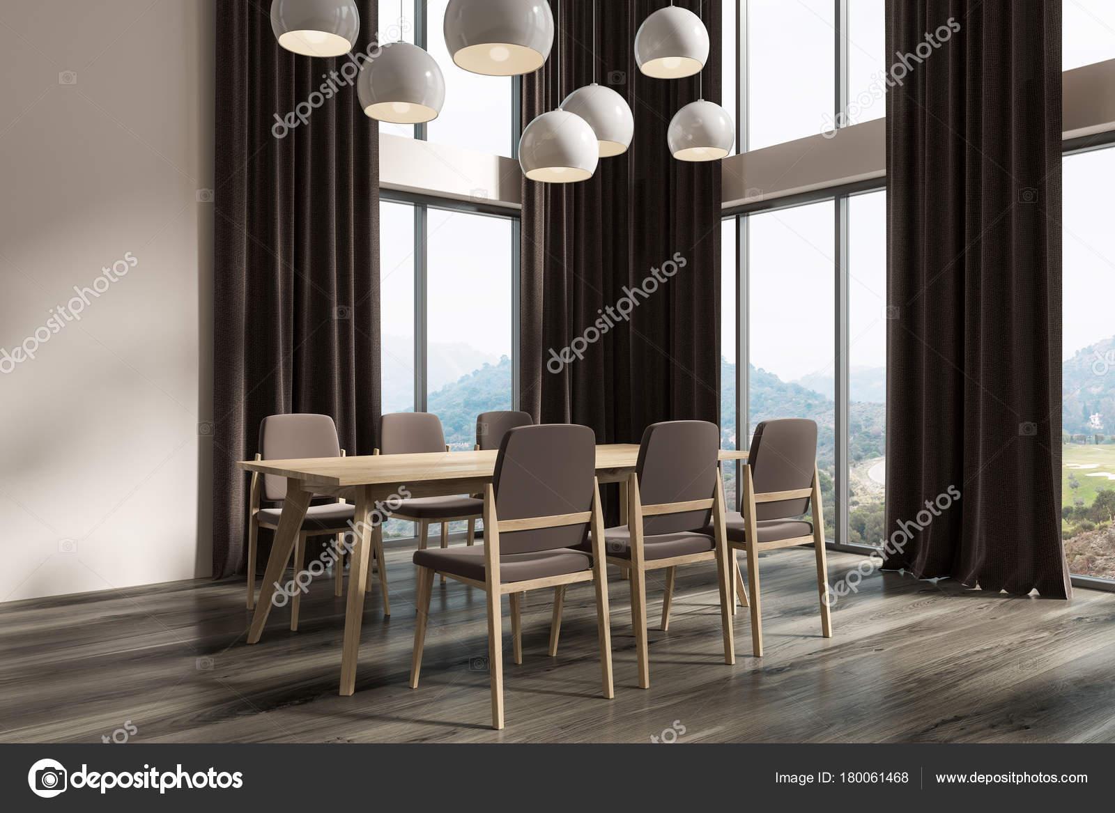 White Dining Room Corner Black Curtains Dark Stock Photo C Denisismagilov 180061468
