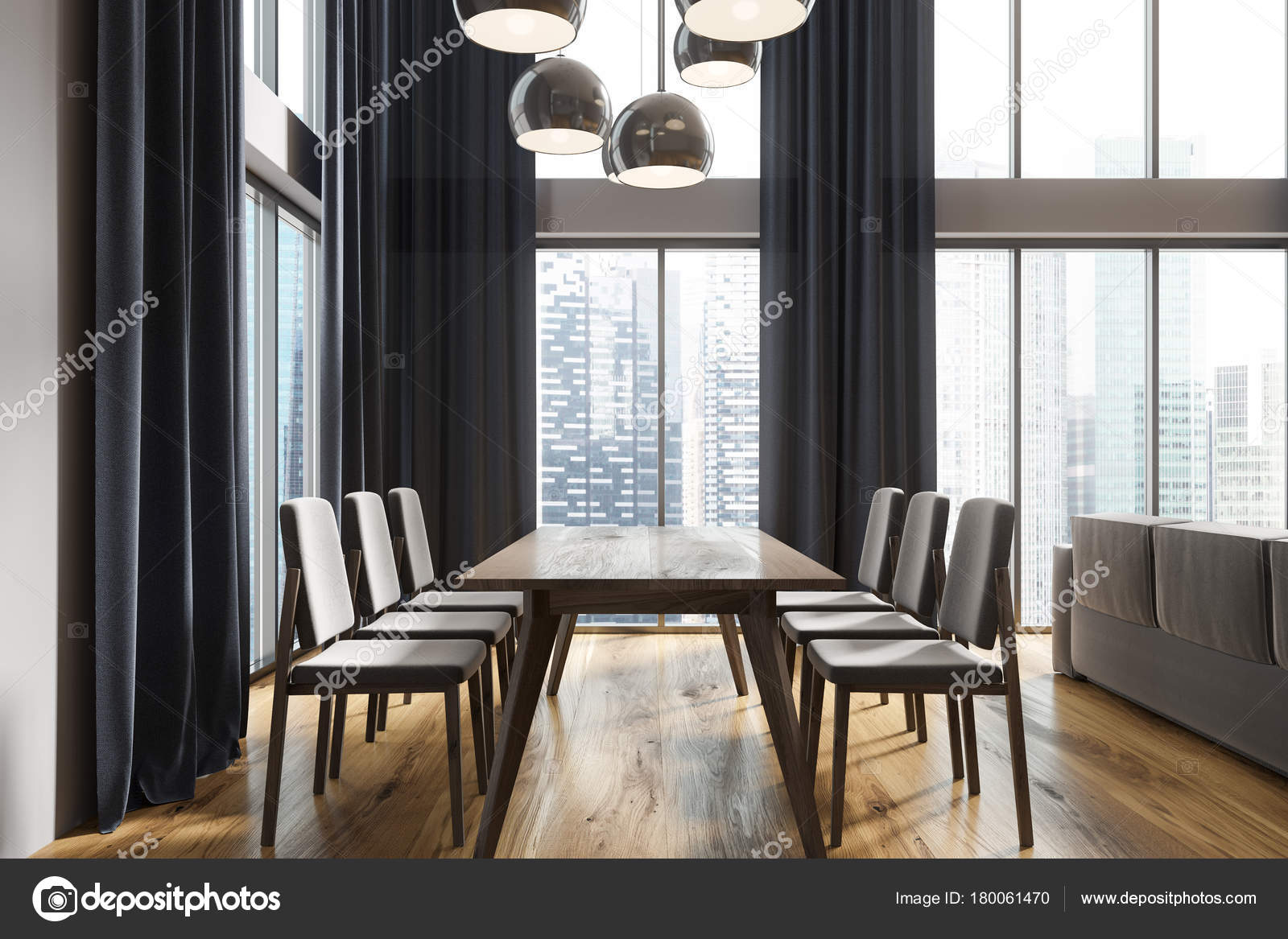 White Dining Room Black Curtains Side Stock Photo