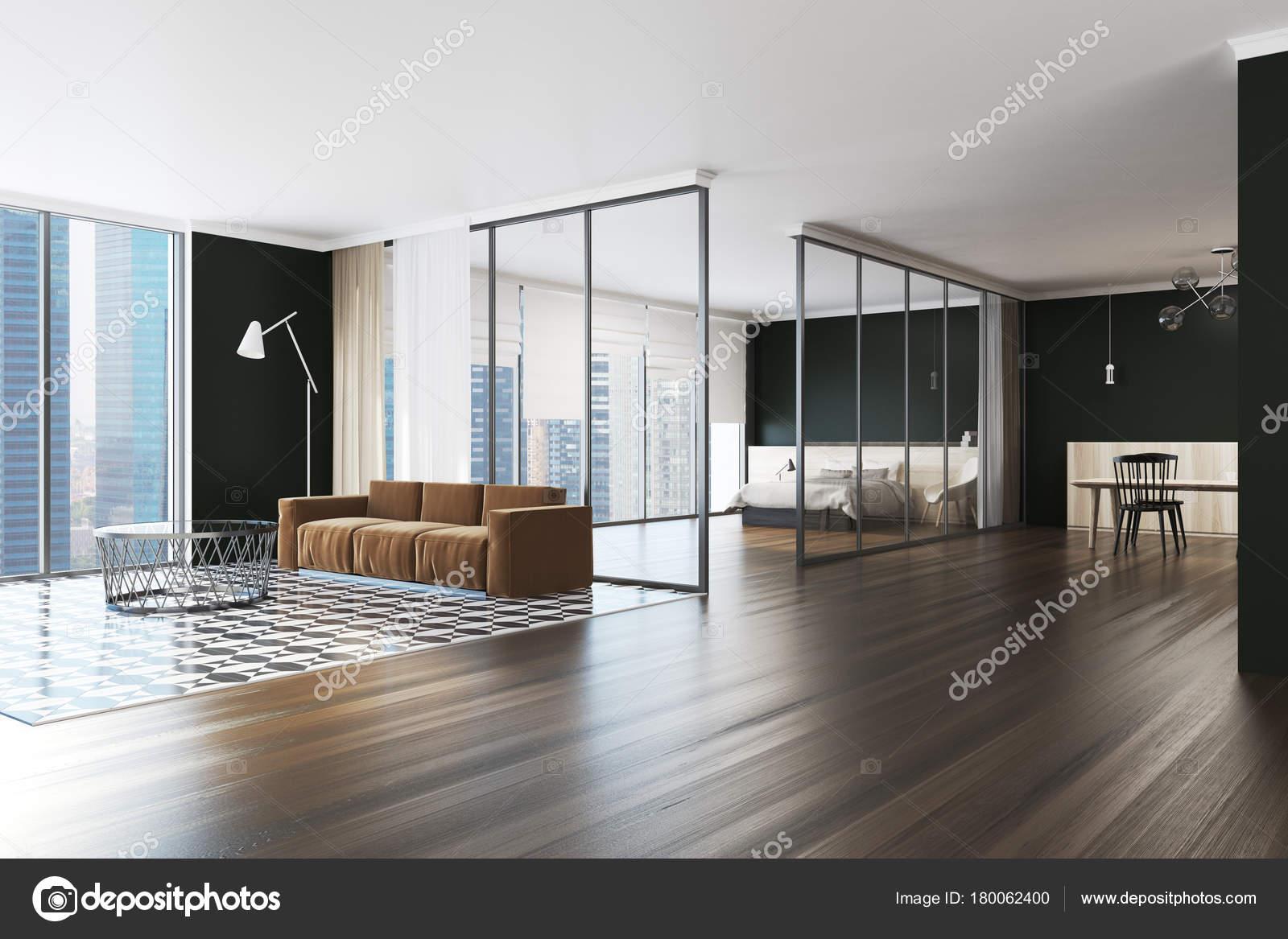 Moderne zwarte muur appartement hoek — Stockfoto © denisismagilov ...