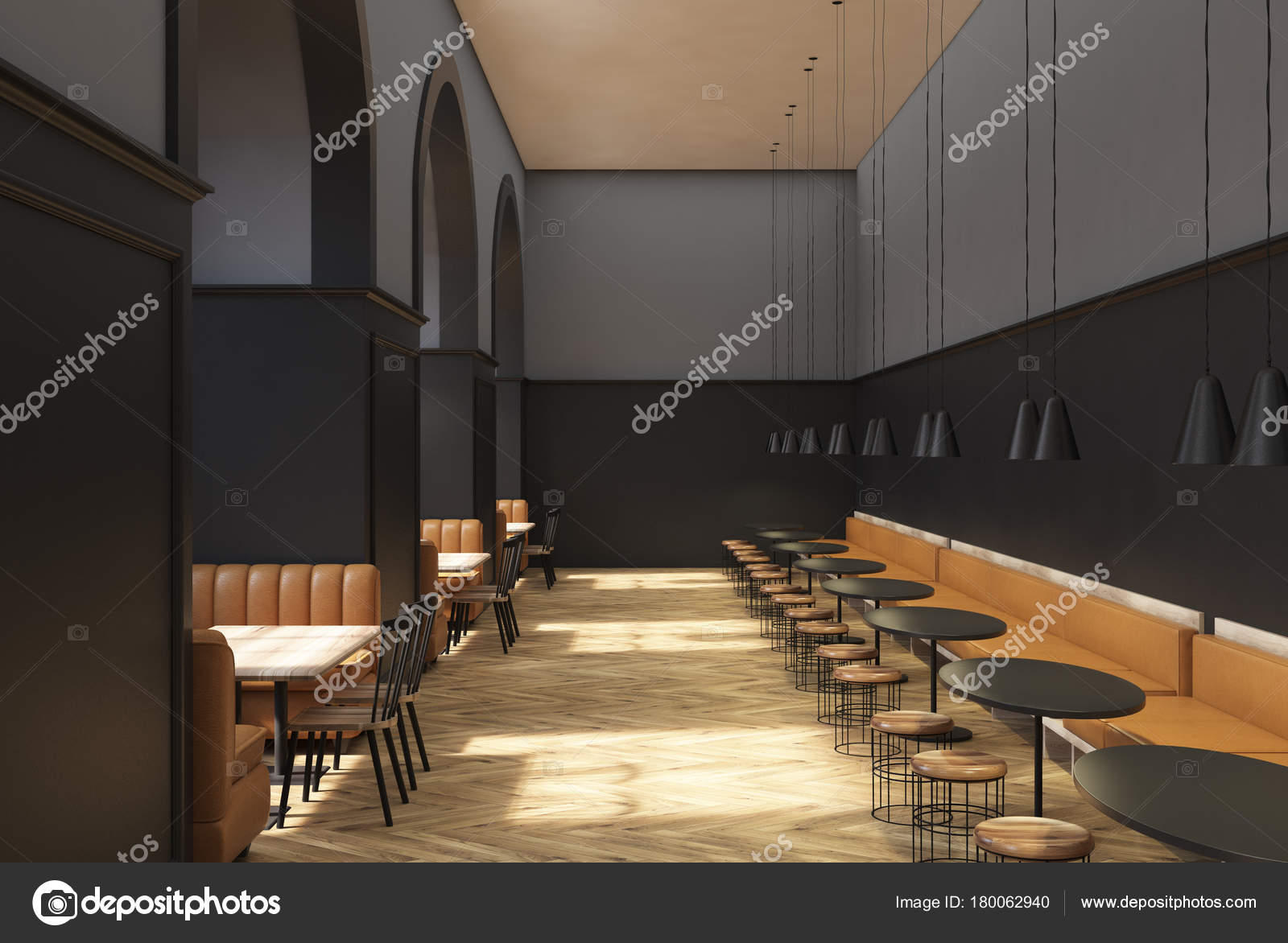 Dunkel grau Café Interieur — Stockfoto © denisismagilov #180062940