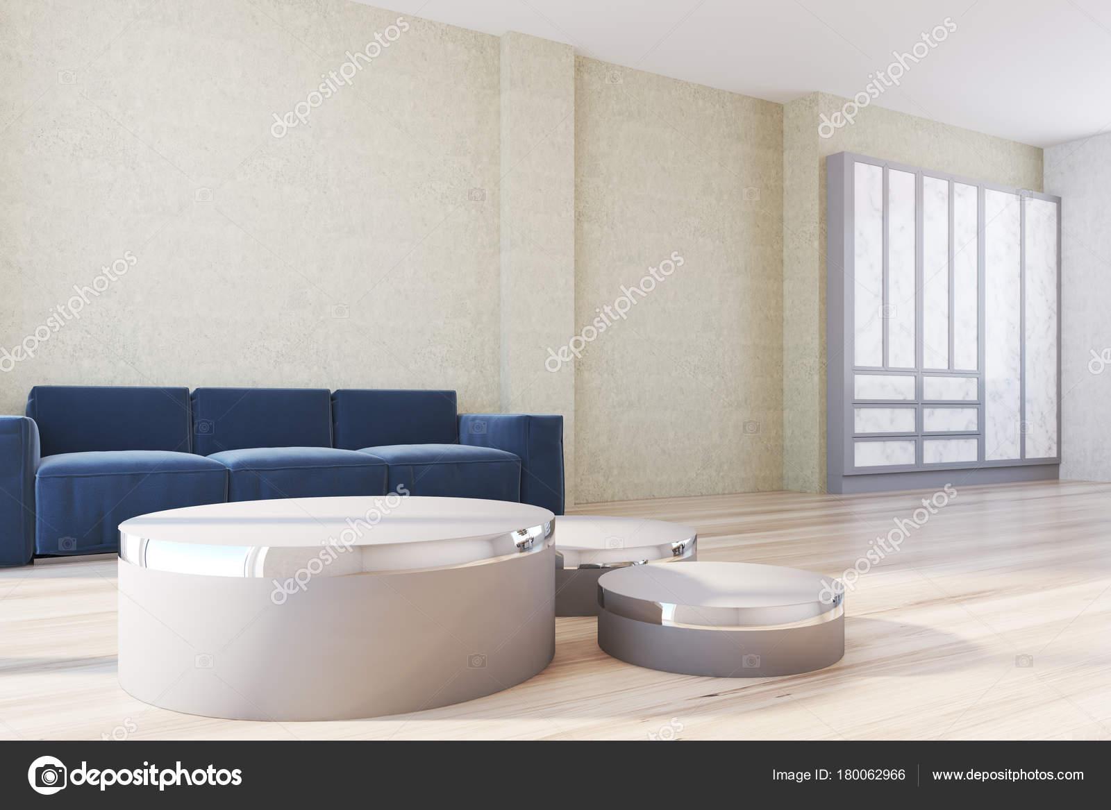 Blau gelb Wohnzimmer Sofa und Poster-Seite — Stockfoto ...