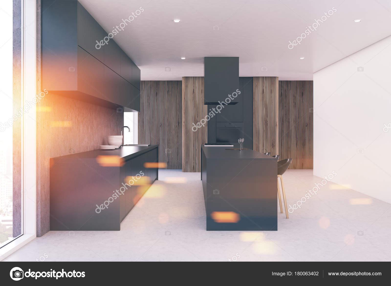 Moderne Grau Und Holz Kuche Interieur Getont Stockfoto
