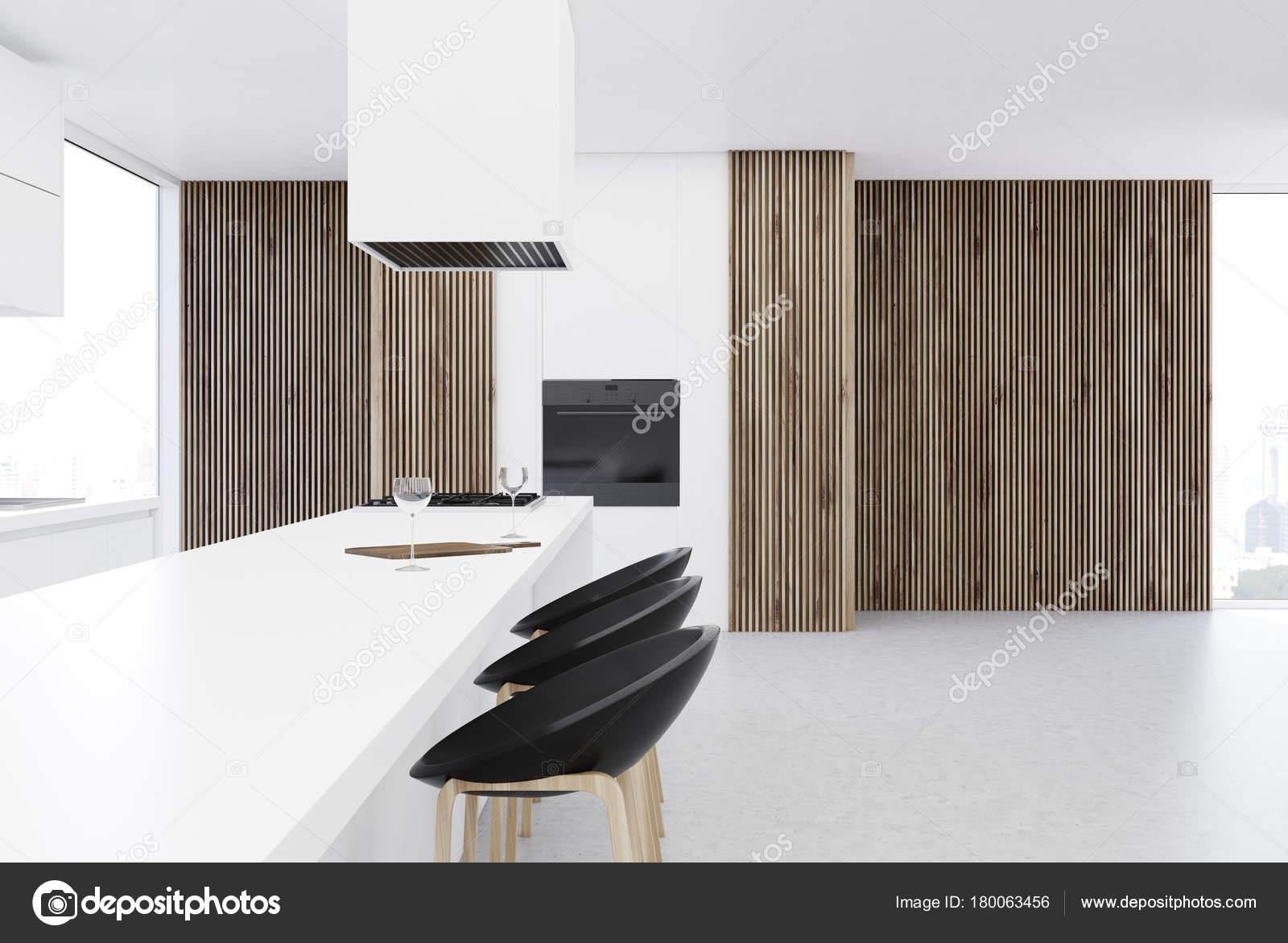 Mesa de la cocina, blanco de piso de concreto — Fotos de Stock ...