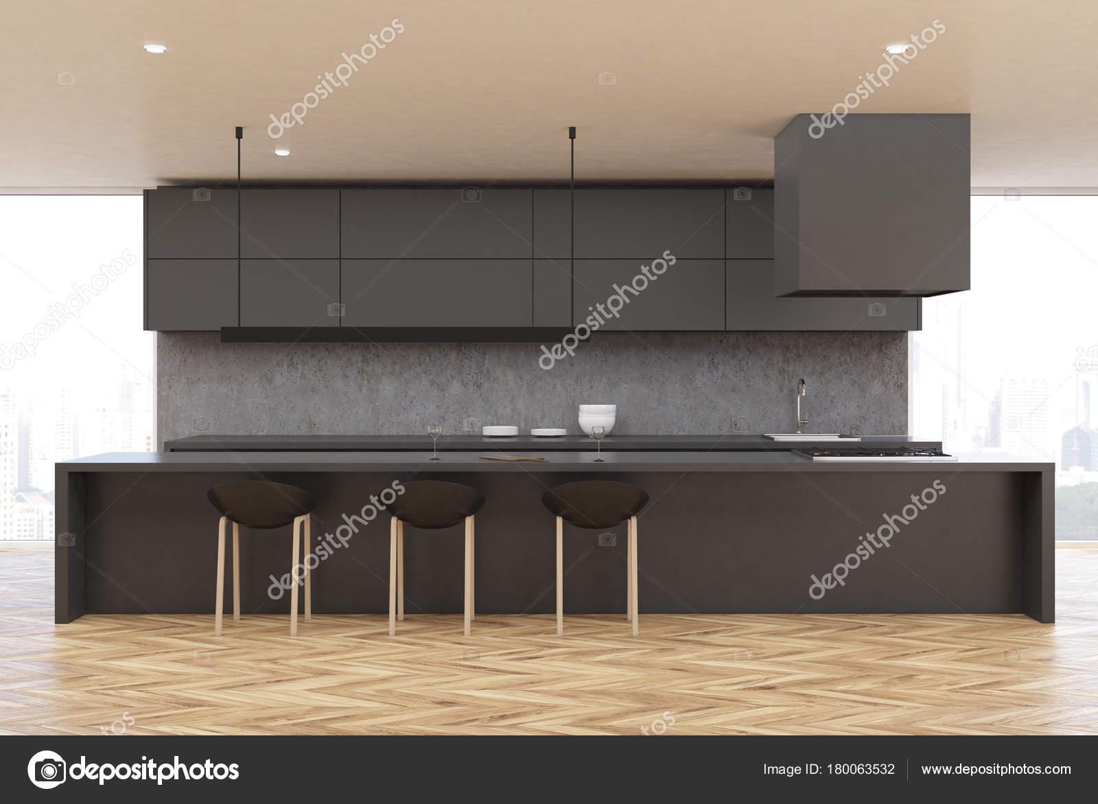 Vloer In Keuken : Houten vloer keuken grijze tafel voorzijde u2014 stockfoto